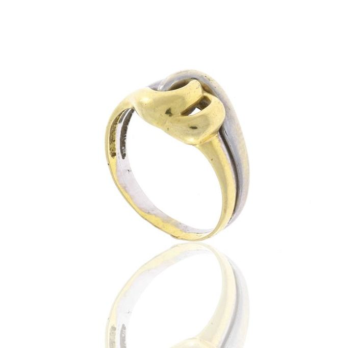 Bicoloured gold ring, 19.2kt Size 18