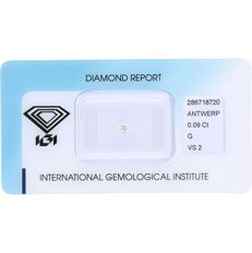 0.09 ct round, brilliant cut diamond, G VS2