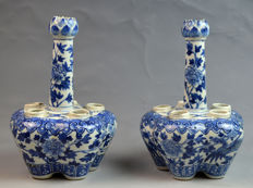 Pair of 19th Century Chinese Blue and White Six-hole Porcelain Flower Pot