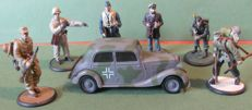 Rare mixed German lot of 1 Mercedes military car & 6 hand-painted  tin figures, 2nd World War, Wehrmacht & military soldiers.