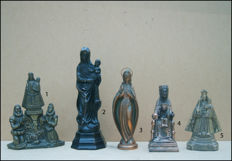 5 Mary statues - various origins - 20th century