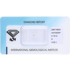 0.15 ct round, brilliant cut diamond, E VVS1