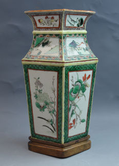 Chinese 19th Century Finely Painted Famille Verte Porcelain Square Vase