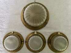 4 Pieces Vintage Spitfire ship's ceiling or wall lamps