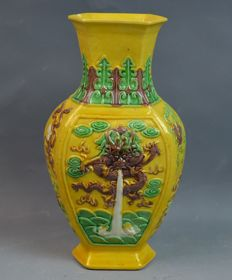 Chinese Early 20th Century Yellow Ground Famille Verte Porcelain Dragon Vase