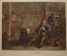 P.Chenu/T.S.Müller/ after David Teniers - A Dutch Kitchen/ A Quiet Whiff - 1745/1746