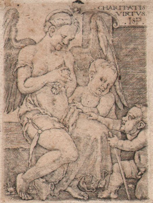 Hans Sebald Beham (1500-1550) - Charity winged female,  with two children - 1518-1530