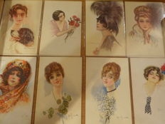 24 beautiful fantasy cards, portraits of women, signed cards