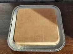 Pewter cutting board for bread or cheese with wooden board by Cooper Brothers