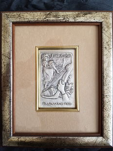 """Jane Avril"" low relief copy from Toulouse Lautrec, on silver 925. Florence (Italy)"