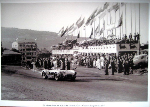 Great Photoprint - Mercedes-Benz 300 SLR #104 Stirling Moss/Peter Collins Winners Targa Forio - 1955