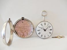 Rare Silver calendar verge pair cased pocket watch early 1800s
