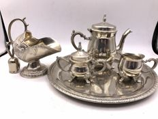 5 piece silver plated Art Deco tea set with coal scuttle sugar bowl.
