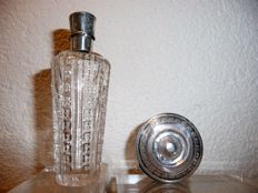 Antique silver tin of peppermints and perfume bottle with silver cap, the Netherlands