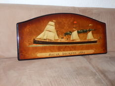 Gorgeous Wooden Panel with a Steam Sailing Ship