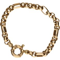 14 kt Yellow gold anchor chain bracelet - Length: 20 cm