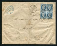 France 1859 - Letter from Paris to Mantes with a block of four - Yvert No. 14A