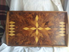 Wooden mahogany tea trays, hand-polished, 1990s
