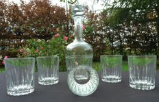 Baccarat, Set of 6 pieces in cut and chiselled crystal
