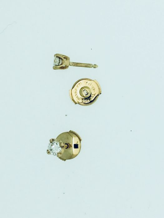 Diamond earrings, 750 GOLD; head dimensions: diameter 4.60 mm