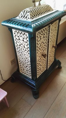 Enamelled cast-iron stove, France or Belgium, early 20th century