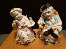 conta & boehme - European pair of 19 century porcelain tobacco jars grandmother and grandfather
