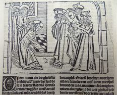Master of Delft - Incunabula leaf from Vitae Christie - Christ before the Widow on Nain - original from 1488