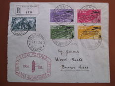 Italy 1934 - Complete 'Rome-Buenos Aires flight' series, on airmail letter. 'Sassone' catalogue number: S 1511 and 339