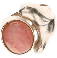 925 Silver ring set with Rhodochrosite - Ring size: 17.5 mm