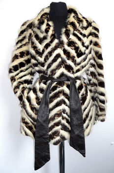 Exquisite rare mink coat in striped patters bright cream white and brown mink fur coat