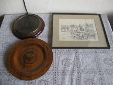 2 Wooden Wall Plates and 1 Etch with Nautical Depictions