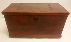 Antique blanket chest / bridal chest trimmed with rivets - 18/19th century