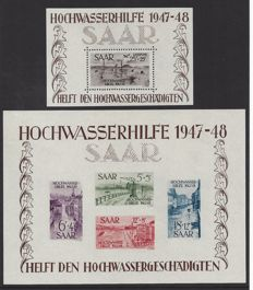 Saar region 1948 - Hochwasserhilfe - Michel Block 1 and 2