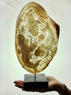 Large engraved mother of pearl shell - Japanese KOI Fish engraving - Indonesia