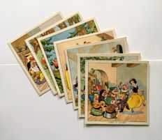 Lot of 7 Cadum Soap advertising postcards with Snow White as a subject (late 1930s)