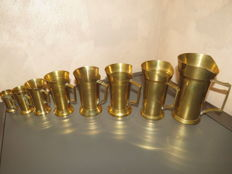 Lot of 8  solid brass measuring containers