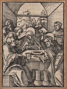 Hans Schauffelein (1482-1539) - A pair : The marriage at Cana + The great banquet - original woodcuts by Durers pupil - 1514