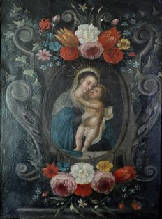 Flemish school (18th century) - The Holy Mother and child within a flower and scroll cartouche