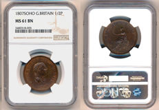 United Kingdom - ½ Penny 1807 George III in NGC Slab - copper