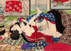 Original shunga woodblock-printed double page illustration by an unknown artist - Two Lovers inside a Futon - Japan - ca. 1860