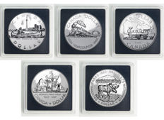 Canada - Dollars 1981/1987 'Railroad, Steam Train, Voyager, Moose & John Davis Ship' (5 coins) - silver