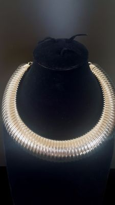Kenneth Jay Lane signed silver toned flexible choker