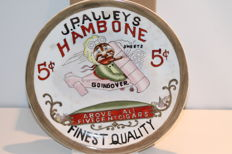 Repro j. p alley hambone sweet cigar 5 cents porcelain wall plate