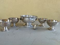 Nice Punch Bowl with handles, complete with 4 silver plated goblets and ladle