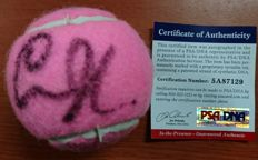 Beautiful tennis ball signed by Anna Kournikova with certificate of authenticity
