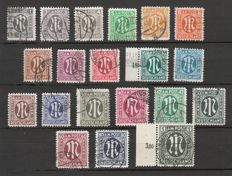American and British Zone 1945 -- definitives series M in oval -- German print -- Michel 16–35