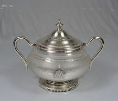 Sterling silver and etched glass sugar bowl, France, circa 1900