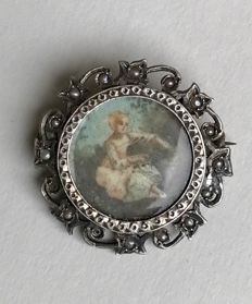 Silver-gilt brooch with miniature, late 18th century-early 19th century