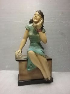 Plaster statue of a secretary from the 40s/50s