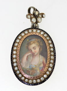 Antique Victorian Silver and 15K Gold Pendant With Hand Painted Cherub on Mother of Pearl  Circa.1840's
